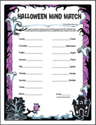 Kids Halloween Mind Match Printable Party Game
