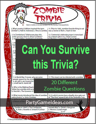 Zombie Trivia Game - Questions and Answers