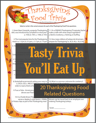 Thanksgiving Food Trivia Game
