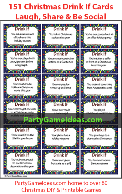 Christmas Drink If Cards, Adult Christmas Drinking Game