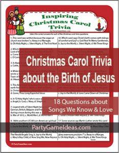 Christmas Carol Trivia Game - Religious, Bible Music