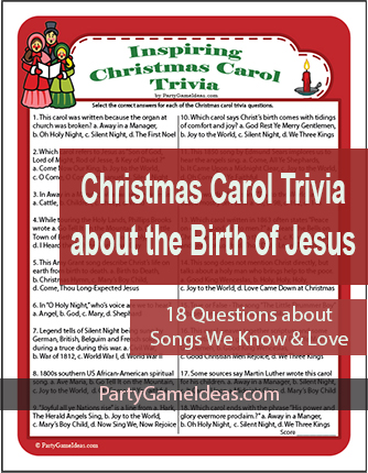 Christmas Carol Trivia Game - Religious, Bible Music