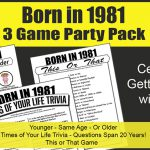 Born in 1981 Birthday Party Games 40th Birthday
