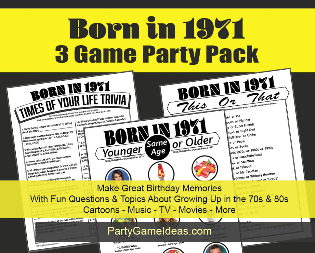 Printable Born in 1971 Birthday Party Games and Trivia