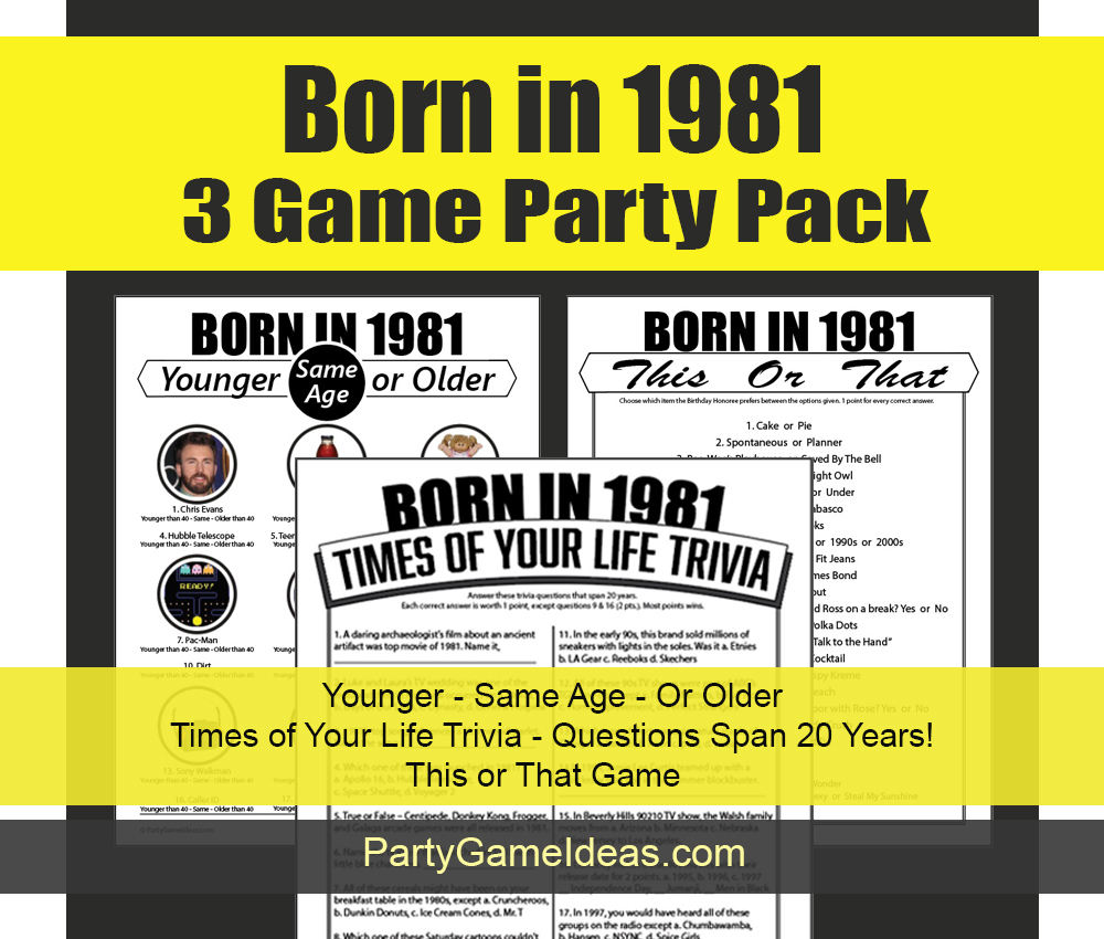 Born on 1981 Trivia Games for Birthday Party