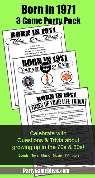 Printable Party Games Born in 1971 Trivia