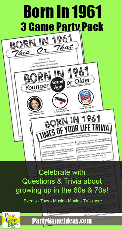 Birthday Party Games Born in 1961 Printable Party Games 1961 Birthday