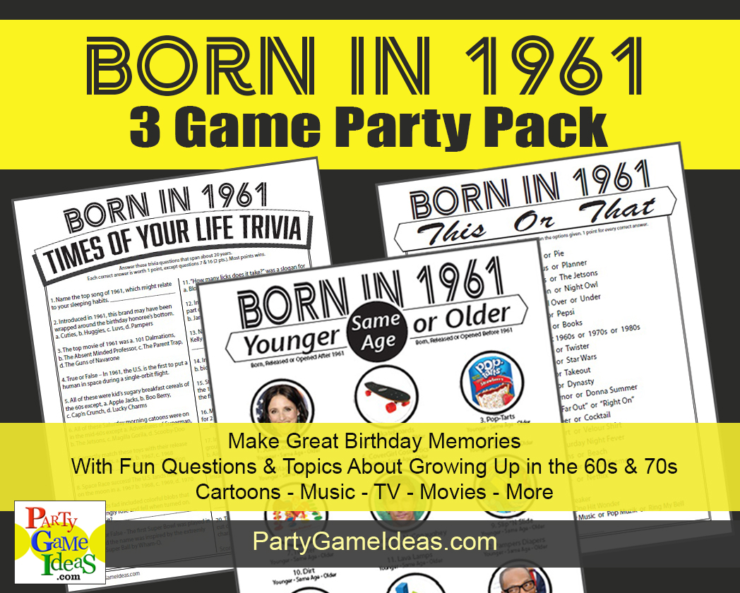 60th Birthday Party Games - Born in 1961 Birthday Party Trivia and Games
