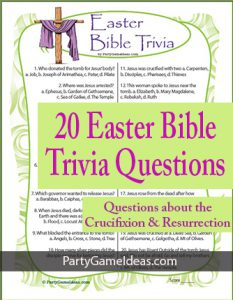 Easter Bible Trivia Game Printable Church Quiz