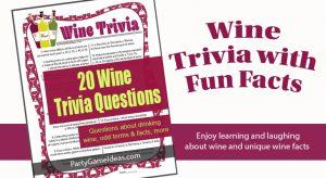 Printable Wine Trivia Quiz Game for Wine Parties