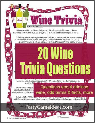 Wine Trivia Game Printable Wine Quiz Fun Facts
