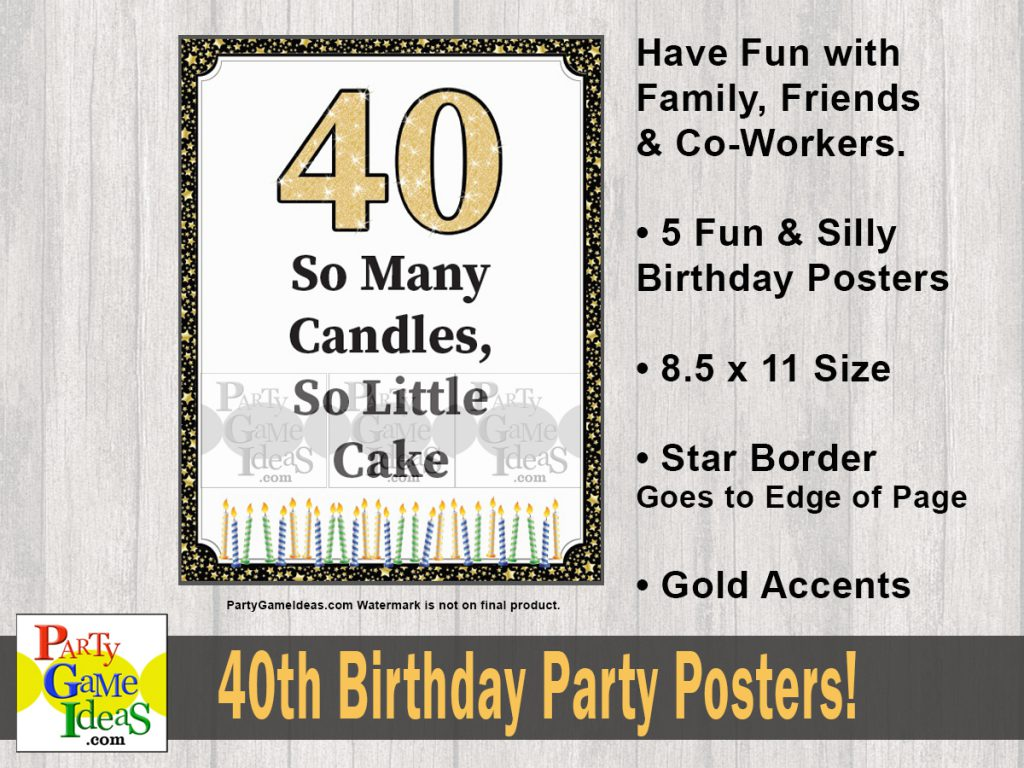 Printable 40th Birthday Signs  - Fun Birthday Quotes Decorations