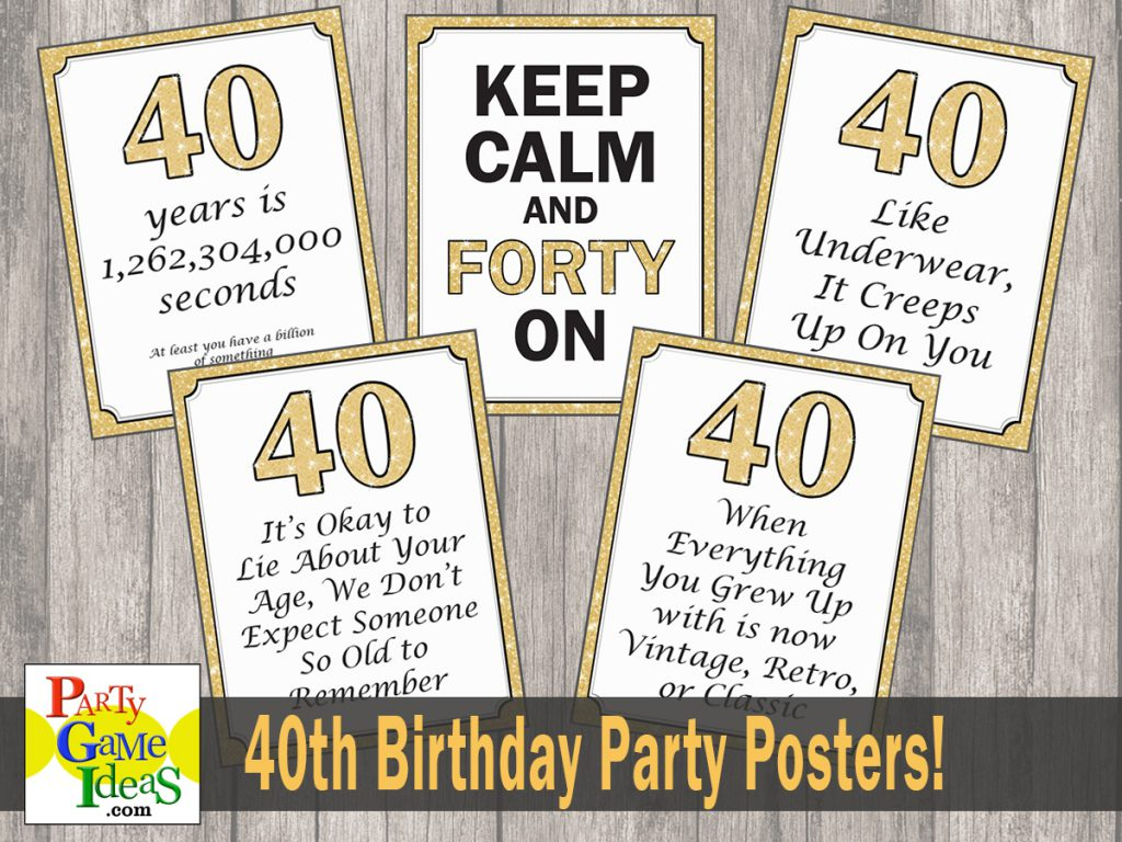 40th Birthday Decorations - Glitter Posters 40 Birthday - Funny Birthday Quotes - Over the Hill Signs 40th
