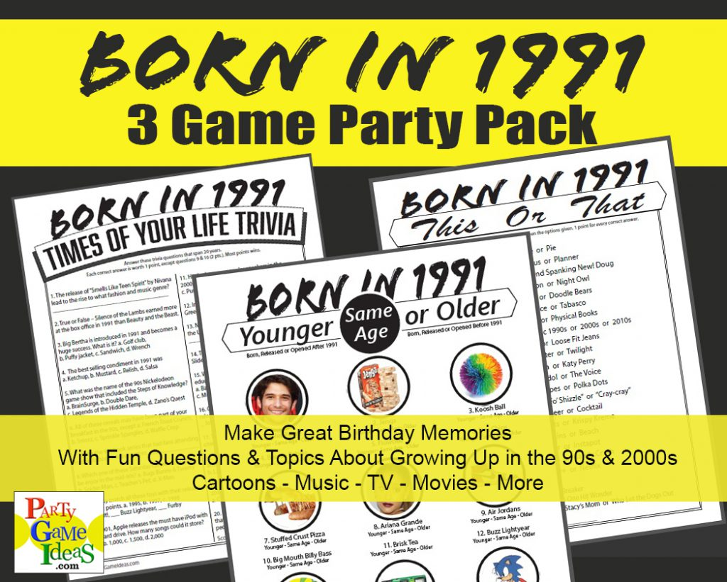 Born on 1991 Birthday Party Games