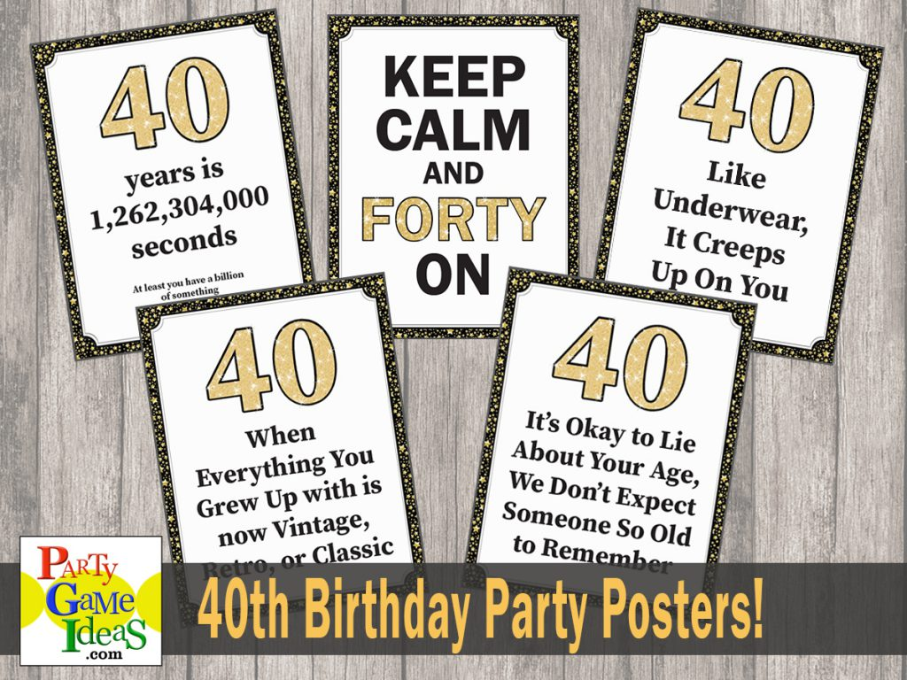 Funny Birthday Posters - 40th Birthday Decorations - Office Birthday - Forty Over the Hill Signs