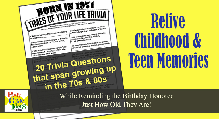 Born in 1971 Trivia Birthday Game