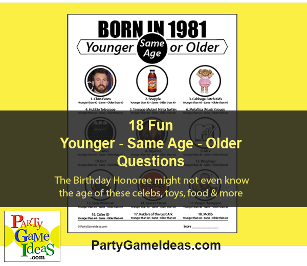Birthday Younger or Older Party Game Born in 1981