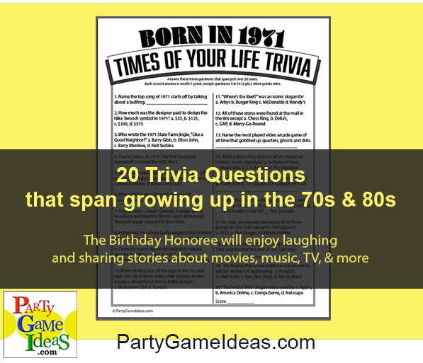 Birthday Trivia Game Born in 1971 Time of Life Trivia