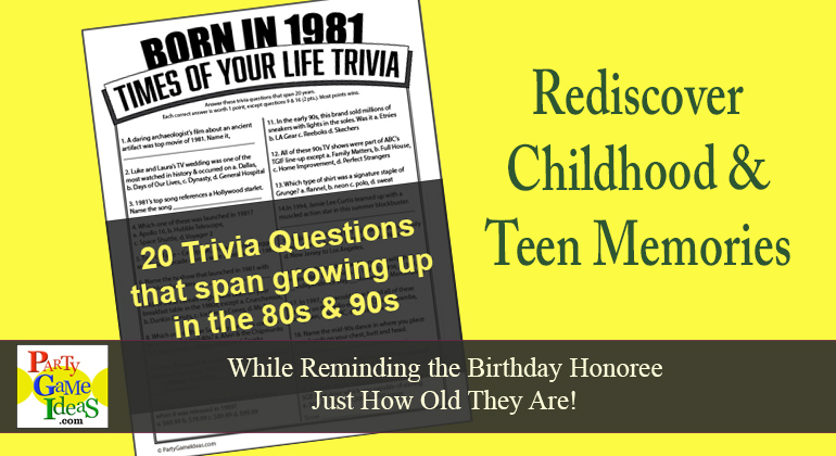 Born in 1981 Birthday Trivia Game