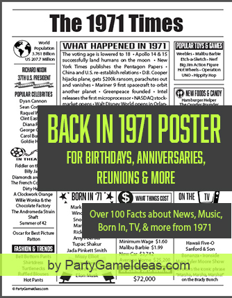 1971 Facts Trivia Poster What Happened in 1971 Printable Sign Birthday Class Reunion Anniversary