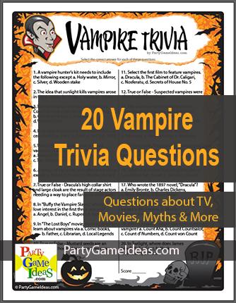 Vampire Trivia Game Printable Halloween Vampires Quiz