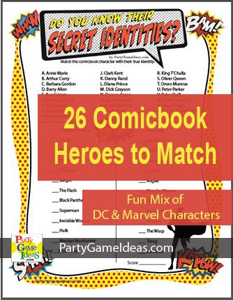 Comicbook Heroes Secret Identities Printable Trivia Game
