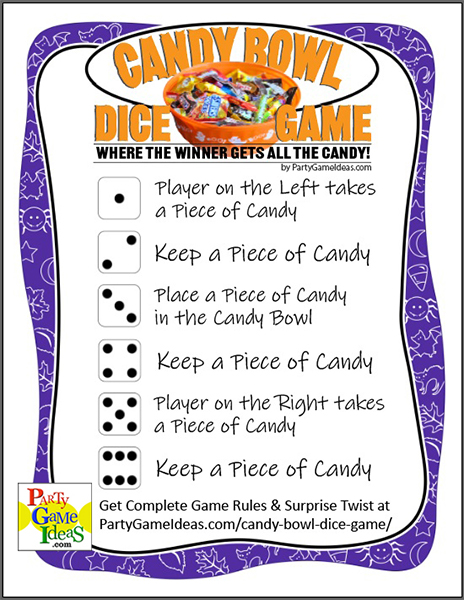 Halloween Candy Bowl an LCR like Dice Game for Parties