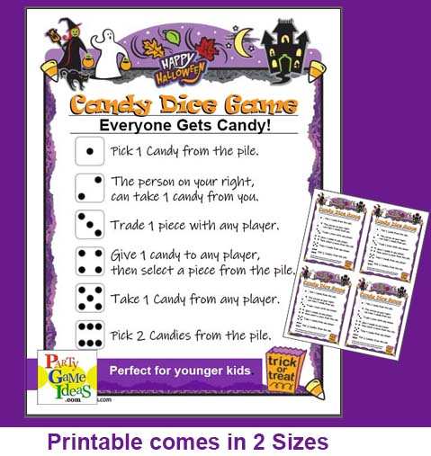 Halloween Candy Dice Game Kids Printable Party Game