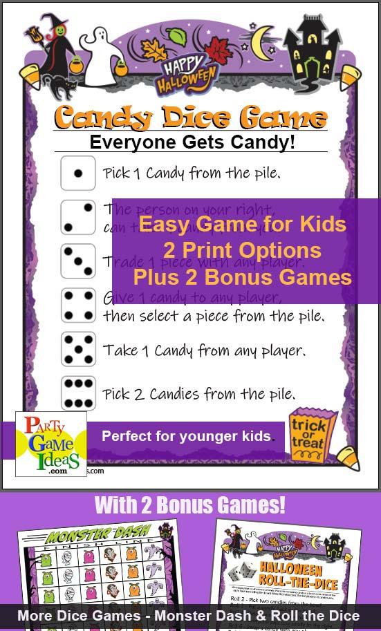 Halloween Candy Dice Game Printable