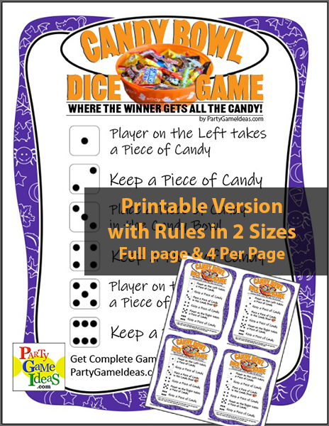 Halloween Dice Game Candy Bowl Printable Party Game