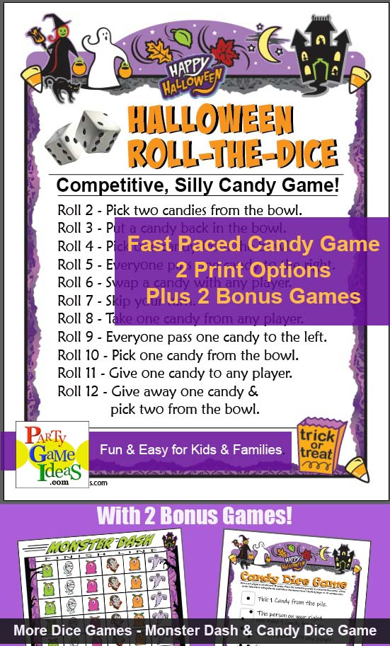 Halloween Roll the Dice Game Printable Candy Game