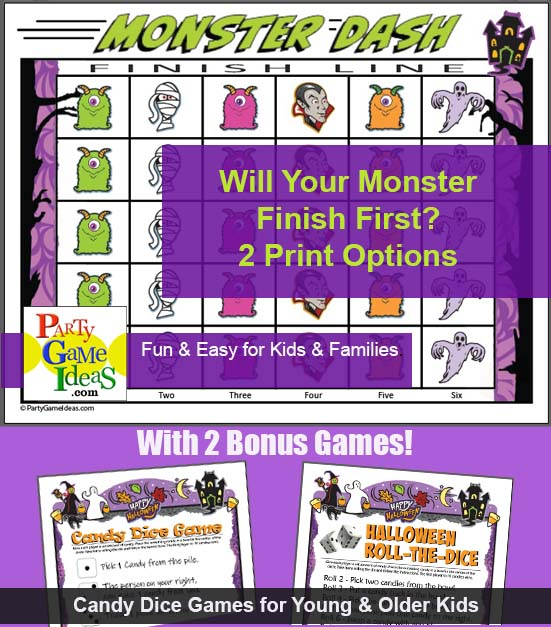 Monster Dash Dice Game for Kids Printable Halloween Activity
