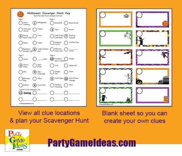 Halloween Scavenger Hunt Clue Organizer Party Game Treasure Hunt Tips