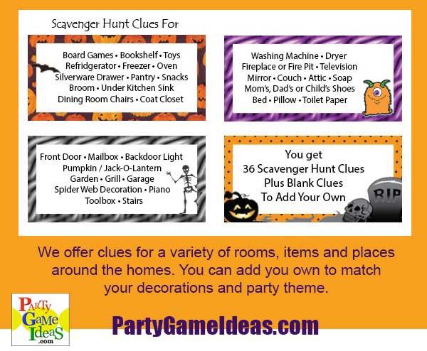 Halloween Scavenger Hunt Clues Cards for Kitchen, Living Room, inside House, Outside Home