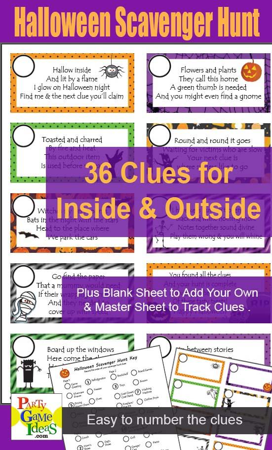 Halloween Scavenger Hunt Printable Clues for Kids