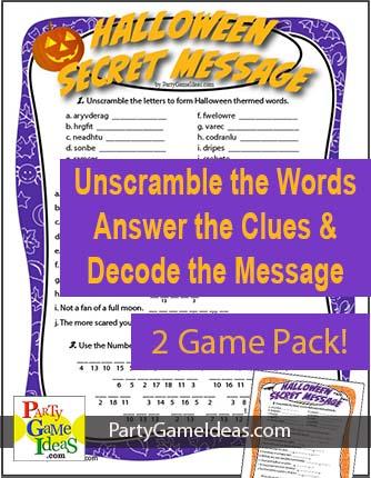 Halloween Secret Message Game Kids Jumble Code Party Classroom Game