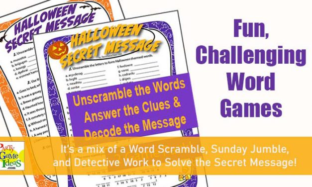 Halloween Secret Message Word Scramble Printable Games